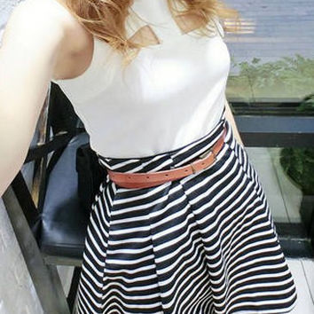 White Striped Paneled Cut Out Sleeveless Dress