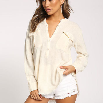 Cream Pocket Front Frayed Blouse