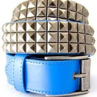 ROCKWORLDEAST - Studded Belts, 3 Row Silver Studded Belt, Blue Leather