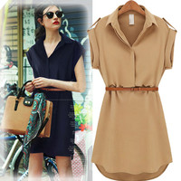 Cuff-Short Sleeve Collared Chiffon Dress With Belt