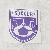 4x4.5 Inch Soccer Insignia Vintage Badge Athletic Graphic Permanent Vinyl Decal/Bumper Sticker