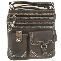 Versatile Croco Trim Cross Body Hipster Purse Messenger Bag (Black)