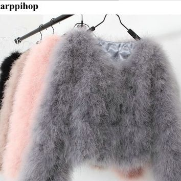 13 colors fashion sexy Ostrich wool turkey fur wool coat feather fur short jacket angelababy free