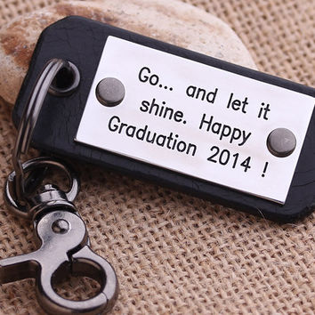Personalized Mens Leather keychain - Hand Stamped Leather Keychain - College Graduation Keychain - Graduation Gift