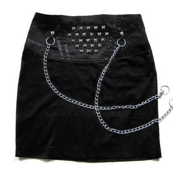 Black Studded Punk Skirt with Metal Chains by Rogue City Killers