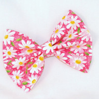 Pink with Daisy Hair Bow Vintage Inspired Hair Clip Rockabilly Pin up Teen Woman