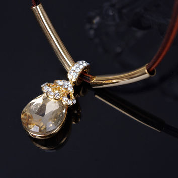 Jewelry New Arrival Shiny Stylish Gift Accessory Korean Diamonds Lace Water Droplets Gemstone Lock Necklace [7271813511]