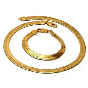 Gold Layered Necklace and Bracelet, Golden Tone