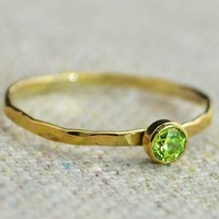 Dainty Gold Peridot Ring