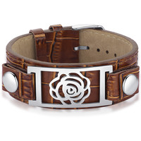 Leather and Stainless Steel Flower Belt Buckle Unisex Bracelet