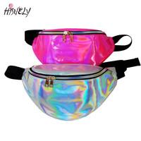 New funny pack women rainbow Laser purse translucent reflective chest waist bag women belt bag waist punk fanny bum waist pack