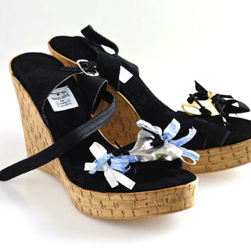 Black Genuine Leather Pumps, Many colours available, Black Summer Wedges, Black High heels