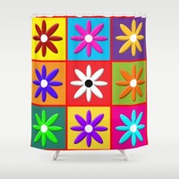 Pop Daisy Shower Curtain by Miss L In Art