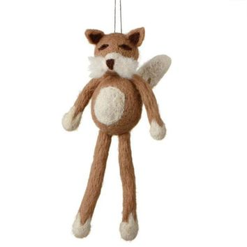 MDIGMS9 7' Fuzzy Wildlife Friends Brown Fox with Dangling Legs Christmas Ornament