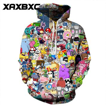 New 074  Adventure time  Totoro Printed Women Jacket Hooded Femme Sweatshirt Casual Loose Men Pocket Hoodies CoatKawaii Pokemon go  AT_89_9