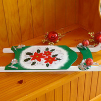 Holiday Sled With Poinsettias and Holly