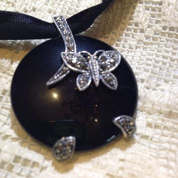 Marcasite Sterling Silver onyx dangle pendant