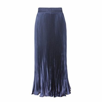 Women's Multicolor Metal luster Long Pleated Skirt Fashion Casual Smooth Maxi Organ Skirts