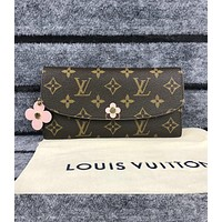 Louis Vuitton LV Trending Women Stylish Monogram Leather Flower Buckle Wallet Purse