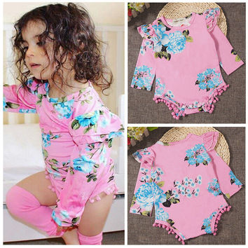 Flower Jumpsuit Bodysuit Long Sleeve Clothing Baby Girls Outfit NEW Newborn Infant Kids Baby Girl Clothes Tops Cotton