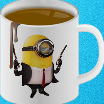 minions and guns Ceramic Coffee Mug heppy coffee.