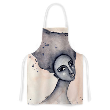 "Stacey-Ann Cole ""Yearning African American Art"" Beige Black Artistic Apron"