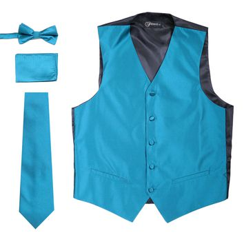 Ferrecci Mens Solid Teal Wedding Prom Grad Choir Band 4pc Vest Set