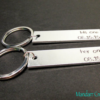 His One Her Only, Custom Anniversary Keychains, Set of Two, Wedding Date, Fully Personalized Gift