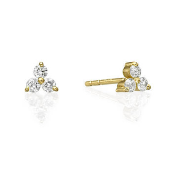 Tiny Diamond Trio Stud Earrings in 14K Yellow Gold 43ac0bda6d
