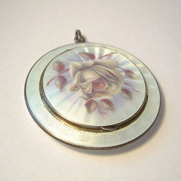 Antique Guilloche Enamel Locket,Guilloche Pill Box, Reliquary,Secret Compartment,Guilloche Rose,Lavender Guilloche,Purple Guilloche,Pendant