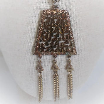 Vintage Lisner Pyramid Tassel Necklace