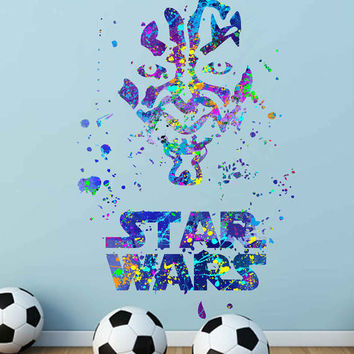 kcik1723 Full Color Wall decal poster space Watercolor paint splashes Darth Maul Star Wars children's bedroom Living