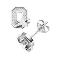 Dayna U Ohio State Buckeyes Sterling Silver Logo Stud Earrings (Grey)