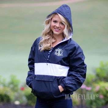 Monogrammed Pullover Striped Rain Jacket | Marley Lilly