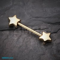 Golden Star Nipple Barbell Ring