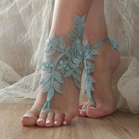 Blue Barefoot Sandals, pearl lace sandals, Nude shoes, Gothic, Foot jewelry,Wedding, Victorian Lace, Sexy, Yoga, Anklet , Belly Dance
