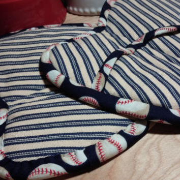 Potholders Deluxe Red White Blue Baseball and Stripes