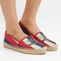GUCCI Pilar leather-trimmed striped logo-print canvas espadrilles.