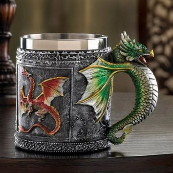 Royal Dragon Wolf Mug Serpent Medieval Collectible Drinking Vessel