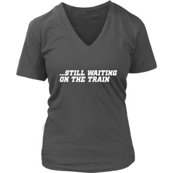 Waiting for a Train Tshirt - Trainspotting Rail Trainspotter - Womens Plus Size Up To 4X
