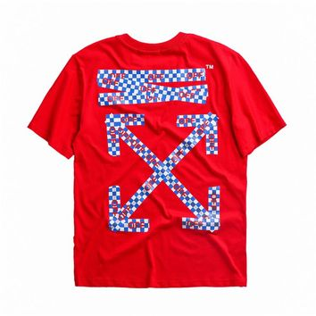 OFF-WHITE 2018 New Letter Stripe Double Arrow Print Round Neck Short Sleeve T-Shirt Red