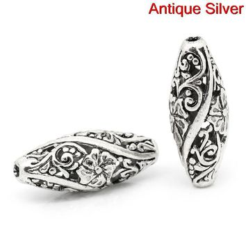 Doreen Box hot- Spacer Beads Oval Antique Silver Flower Pattern Carved Hollow 26mm x 11mm,Hole:Approx 1.9mm,10PCs (B31020)