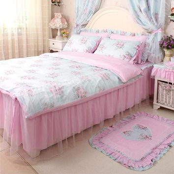 4pcs/set Pastoral elegant print bedding set ruffle duvet cover bed skirt princess bedspread lromantic weddind decoration bedding