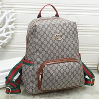 GUCCI Woman Men Fashion Leather Backpack Daypack Bookbag