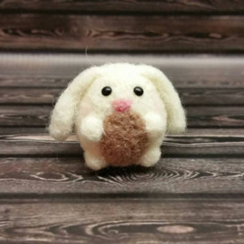 Popcorn Bunny - Needle Felting Sculpture - Felted Bunny - Soft Animal - Handmade Art