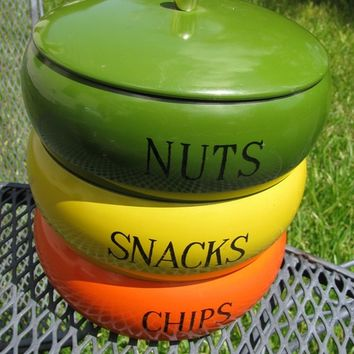 Snack Bowl Trio Set, Vintage 1960's, Chips, Snacks, and Nuts Trio, Cool Funky Colors, Orange, Yellow and Green