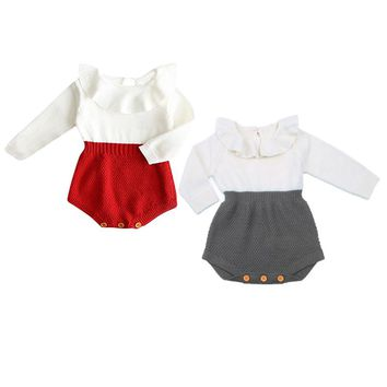 Pudcoco Red Newborn Baby Girl Wool Cotton Knitting Top Patchwork Bodysuit Long Flying Sleeves Warm Sweater Outfits Clothe 2017