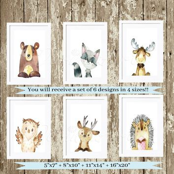 Animal Nursery Prints Gender neutral Nursery Wall Art Baby Shower gift Set of 6 Nursery Woodland animals Watercolor animal Bear Deer Posters