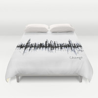 Chicago Skyline Duvet Cover by L Y Z D E S I G N