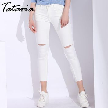 White Skinny Jeans Woman With Holes Slim Pencil Denim Pants Ripped Jeans For Women High Waist Stretch Capris Ladies Jean Femme